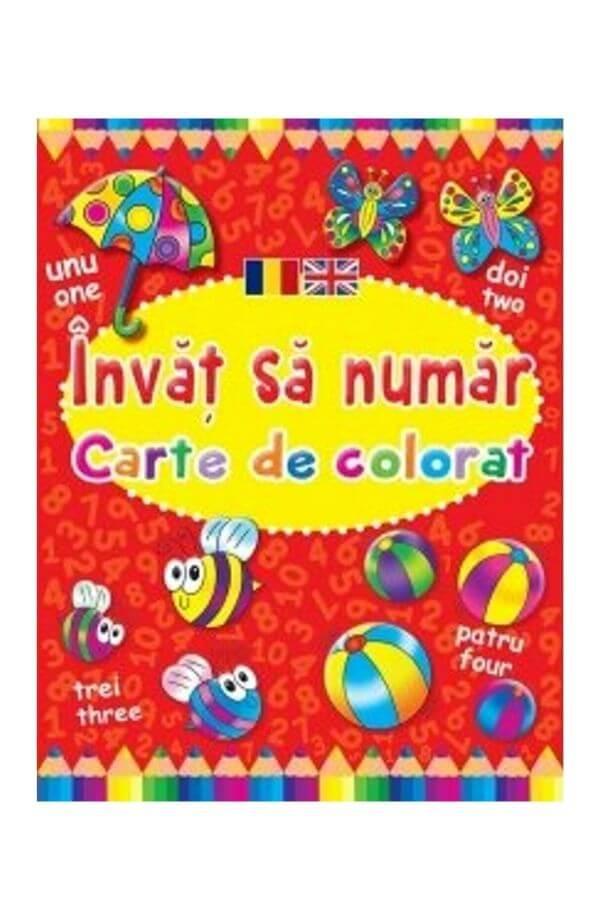 Invat sa numar. Carte de colorat romano-engleza